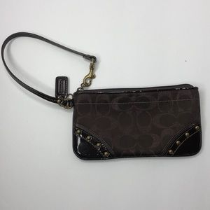 Coach Brown Wristlet with removable strap
